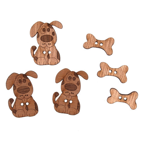 Wooden Dog Buttons