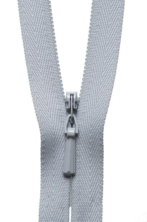Concealed Zip: 23cm: Silver