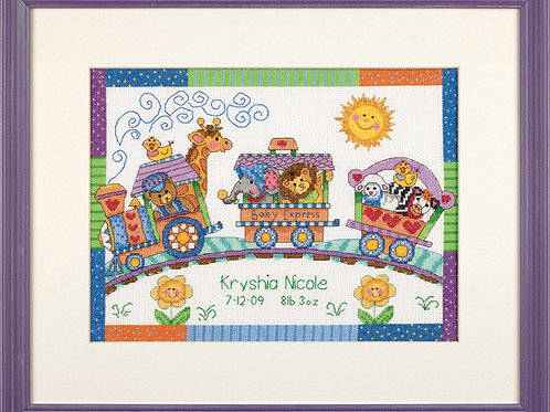 Counted Cross Stitch: Birth Record: Baby Express