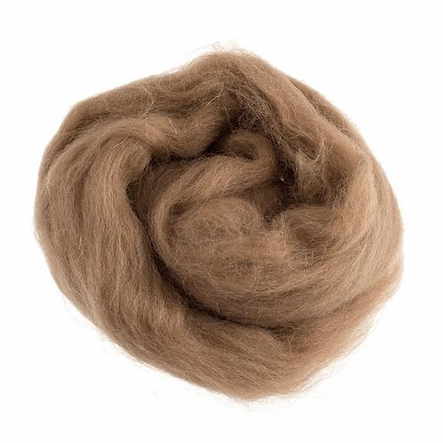 Natural Wool Roving: 10g: Café au Lait