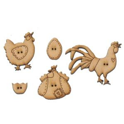 Barnyard Hens Button Pack