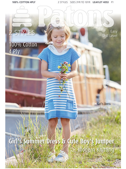 Patons Pattern: Girl's Summer Dress & Cute Boy's Jumper - 4053