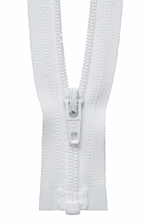 Zip - Light Weight Open Ended 41cm (White)