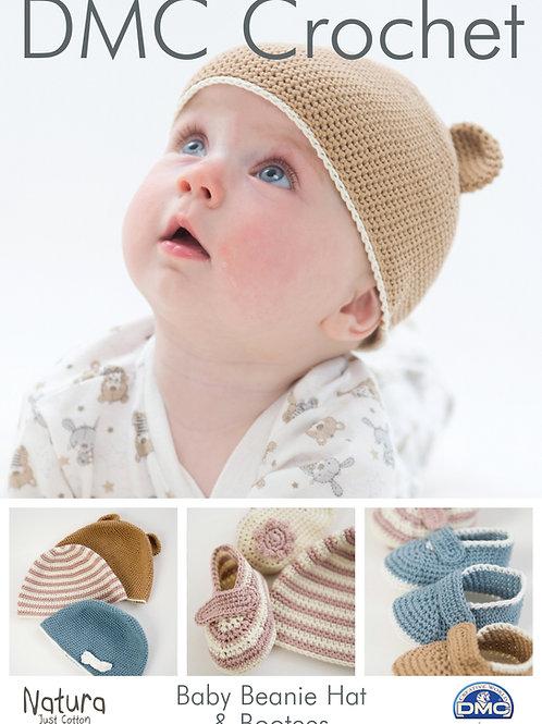 DMC Crochet Pattern: Baby Beanie Hat & Bootees