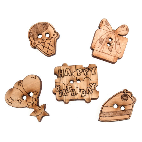 Wooden Birthday Buttons