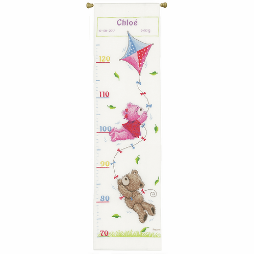 Counted Cross Stitch Kit: Height Chart: Popcorn & Brie Flying