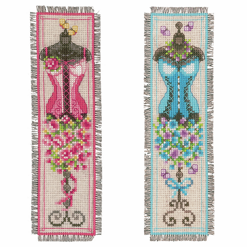 Counted Cross Stitch Kit: Bookmark: Vintage Mannequins: (Set of 2)