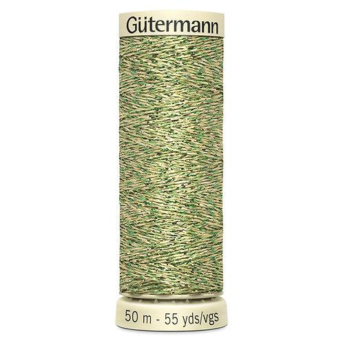 Gutermann Metallic Green & Gold Thread
