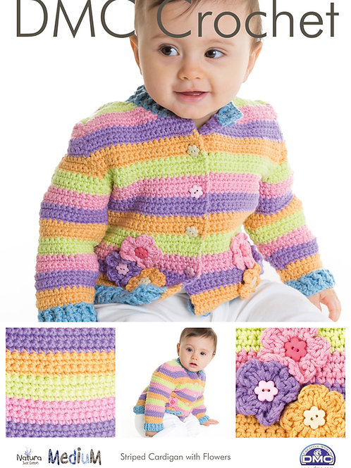 DMC Crochet Pattern: Striped Cardigan with Flowers