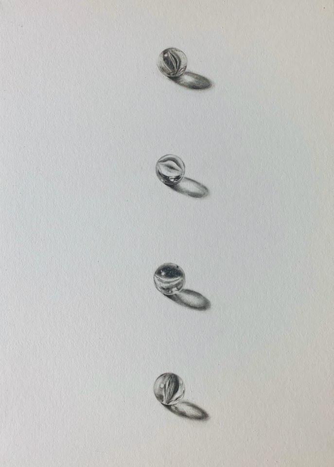 [충무로갤러리]장정임, 4개의 구슬, 종이에 연필, 24x33cm, 20