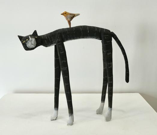 Black Cat & Bird