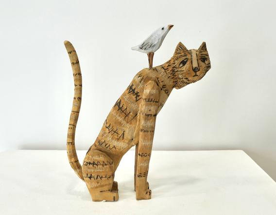 Orange Cat & Bird