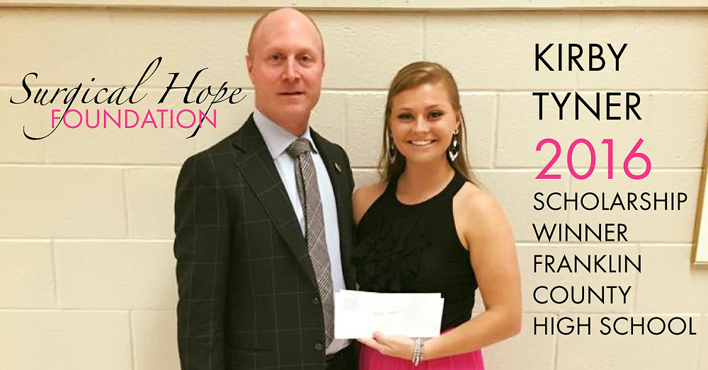 Kirby Toner | 2016 Scholarship Winner | Franklin County High School | Surgical Hope Foundation | Meadows Surgical Arts