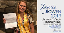 2019 Surgical Hope Foundation Scholarship winner for Banks County High School - Jaycie Bowen