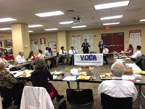 Chief Deputy Commissioner Dr. Parham Jaberi and  Senior Policy Analyst Brenden Rivenbark at the Virginia Department of Health, addresses Virginia Clinicians for Climate Action during Advocacy Day 2019