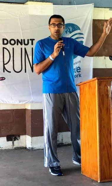 Krupal Shah, MD, MPP speaks at the Donut Run for the Environment organized by the Climate Action Network in Manassas on September 29, 2018