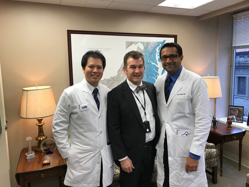Dr. Homan Wai, Vice-Chair of Operations & Recruitment and Krupal Shah, co-Vice-Chair of Community Outreach, met with Senator Chap Petersen