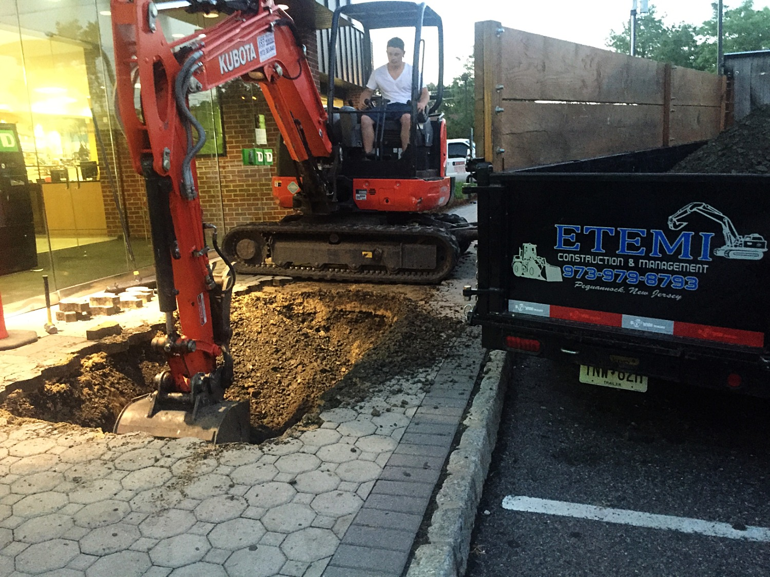 Excavating business walkway