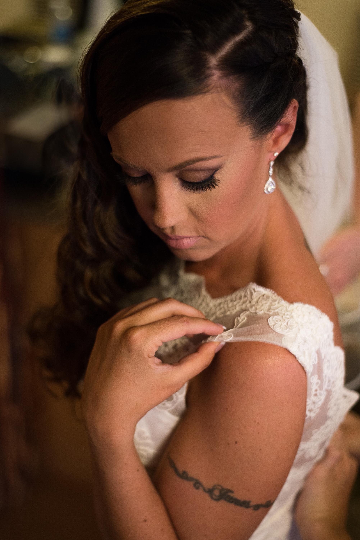 Wedding bride dressing