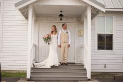 Wedding bride & groom on steps