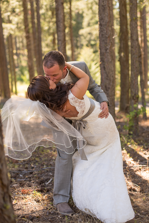 Wedding layback kiss