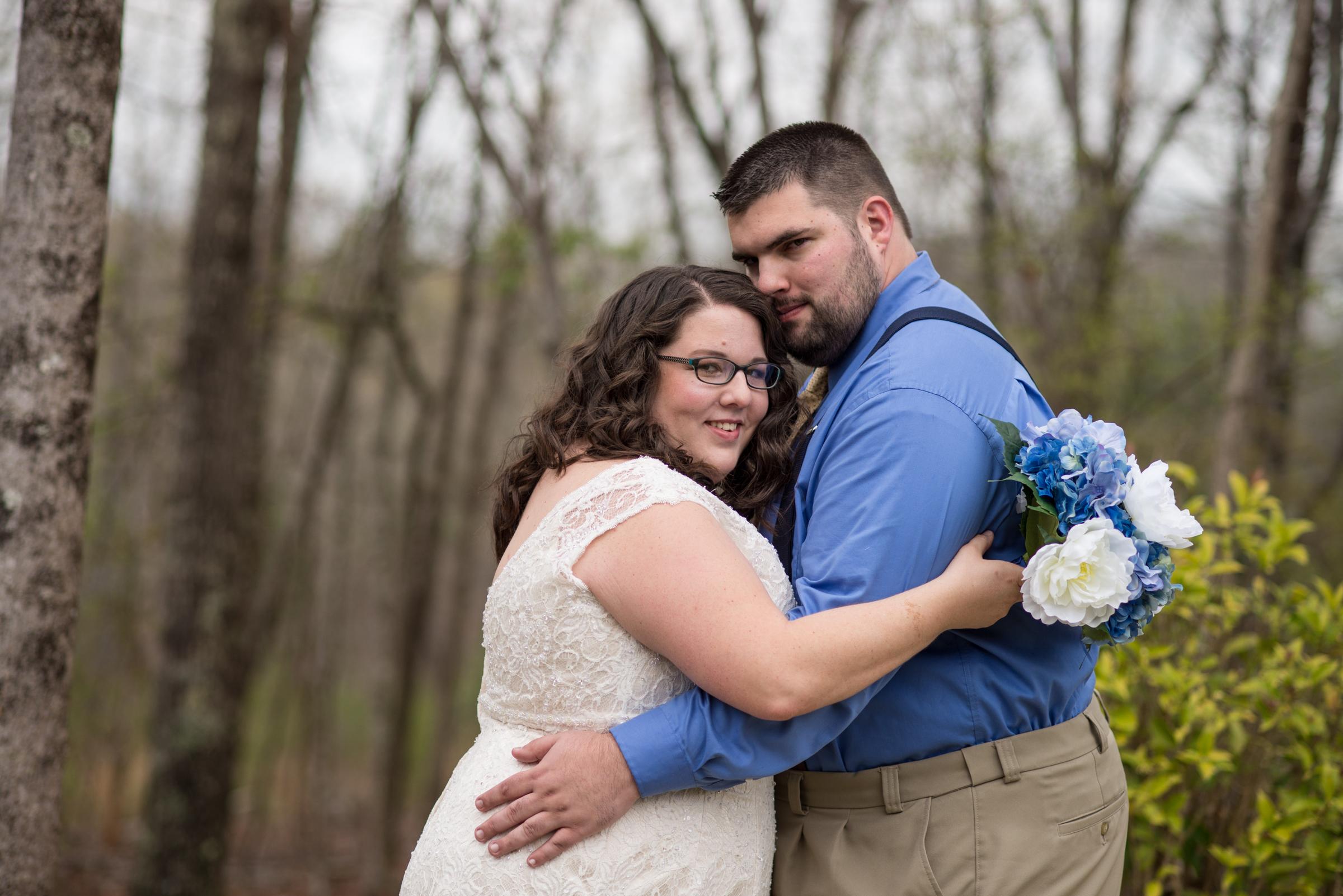 Wedding bride & groom hug Georgia