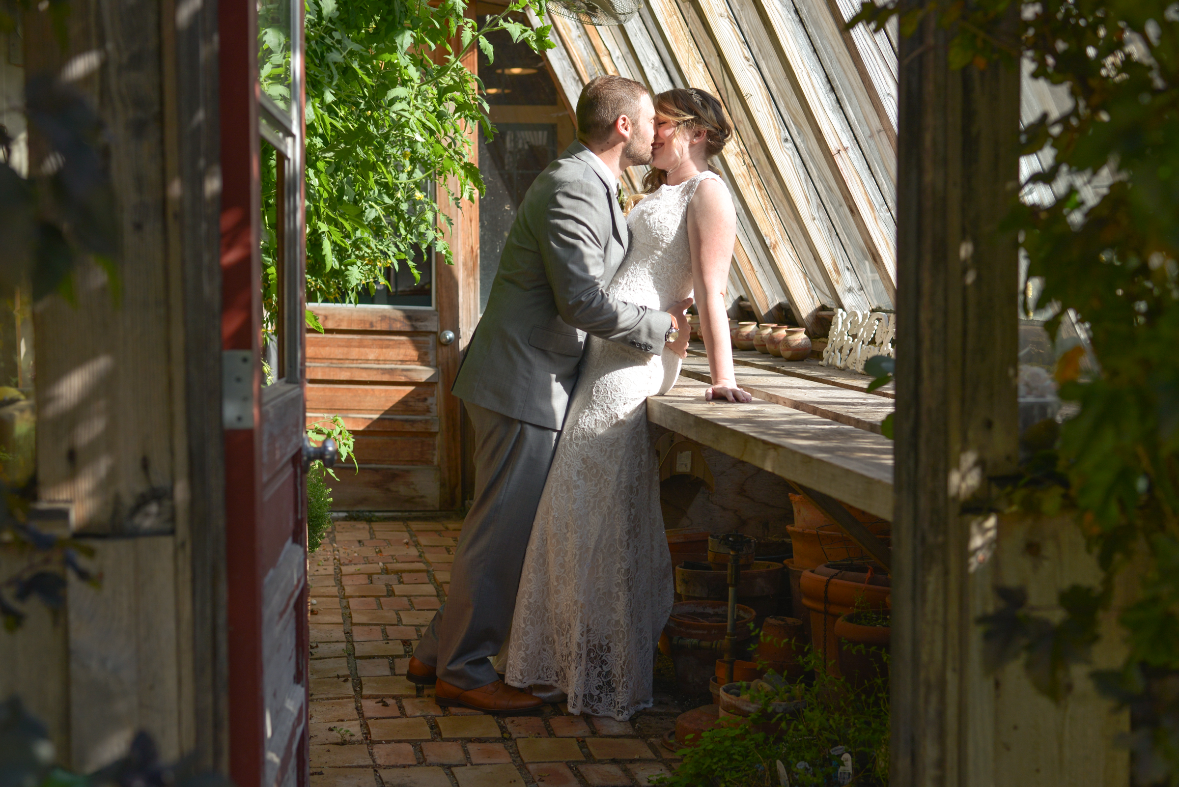 Wedding kissing in the sun room