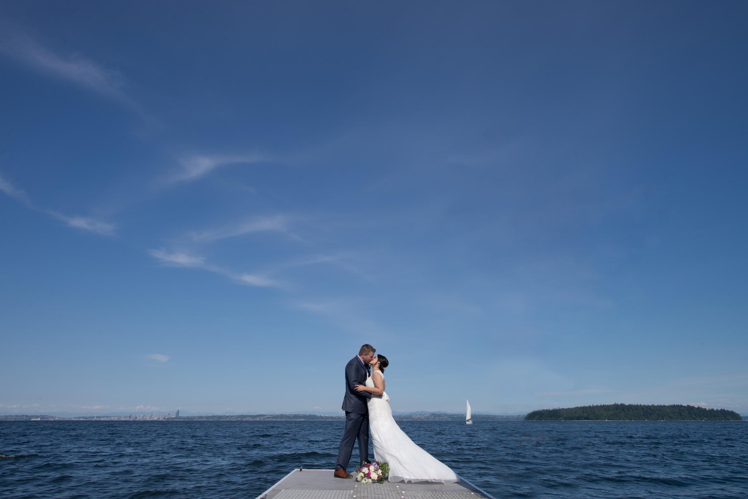Wedding bridge & groom on a dock