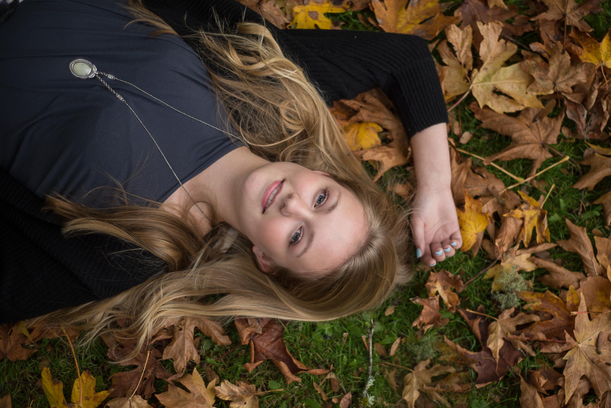 Senior girl in leafs
