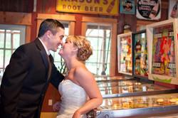 Wedding laughing around pinball