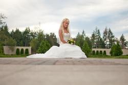 Wedding bride with her dress