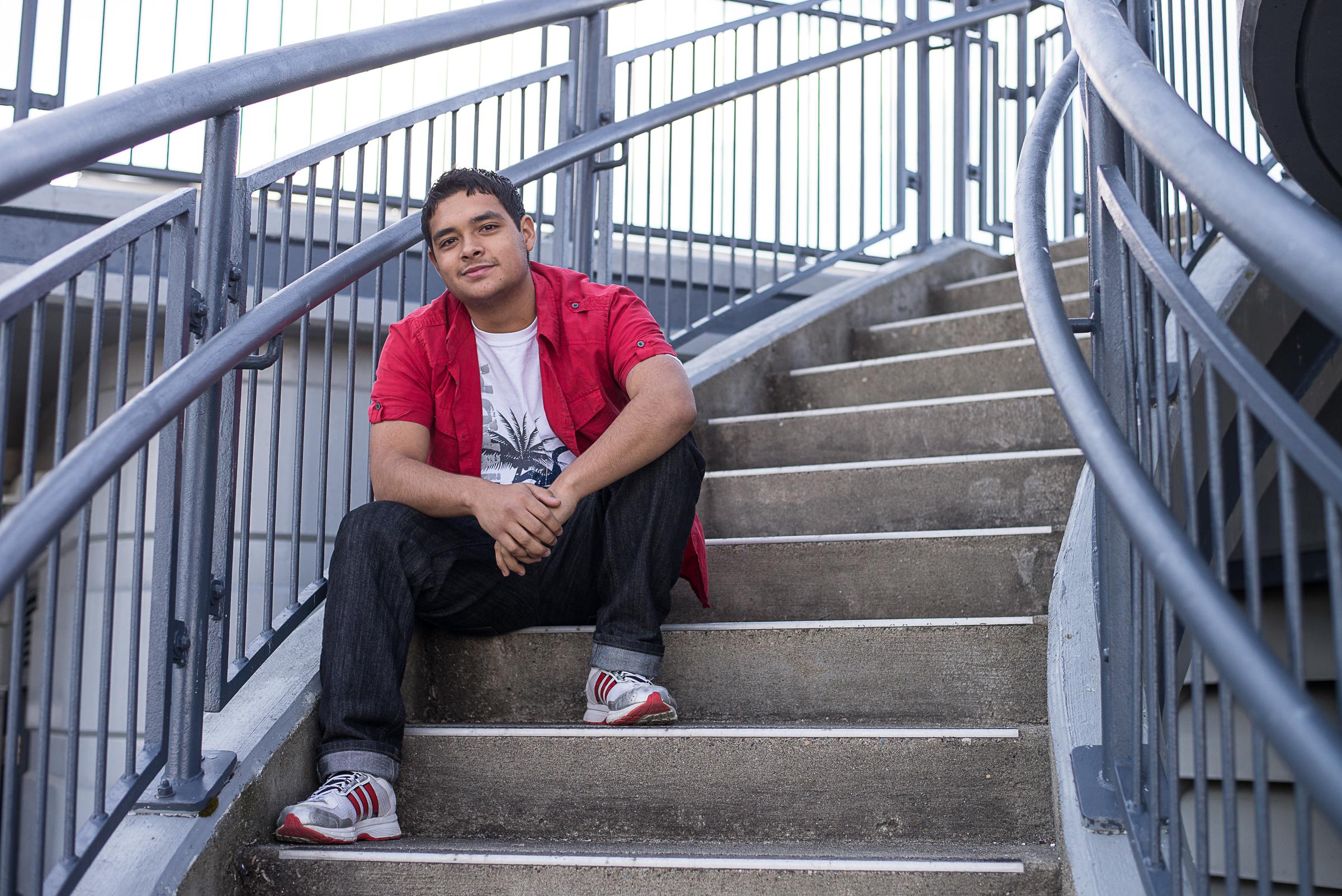 Senior guy on steps