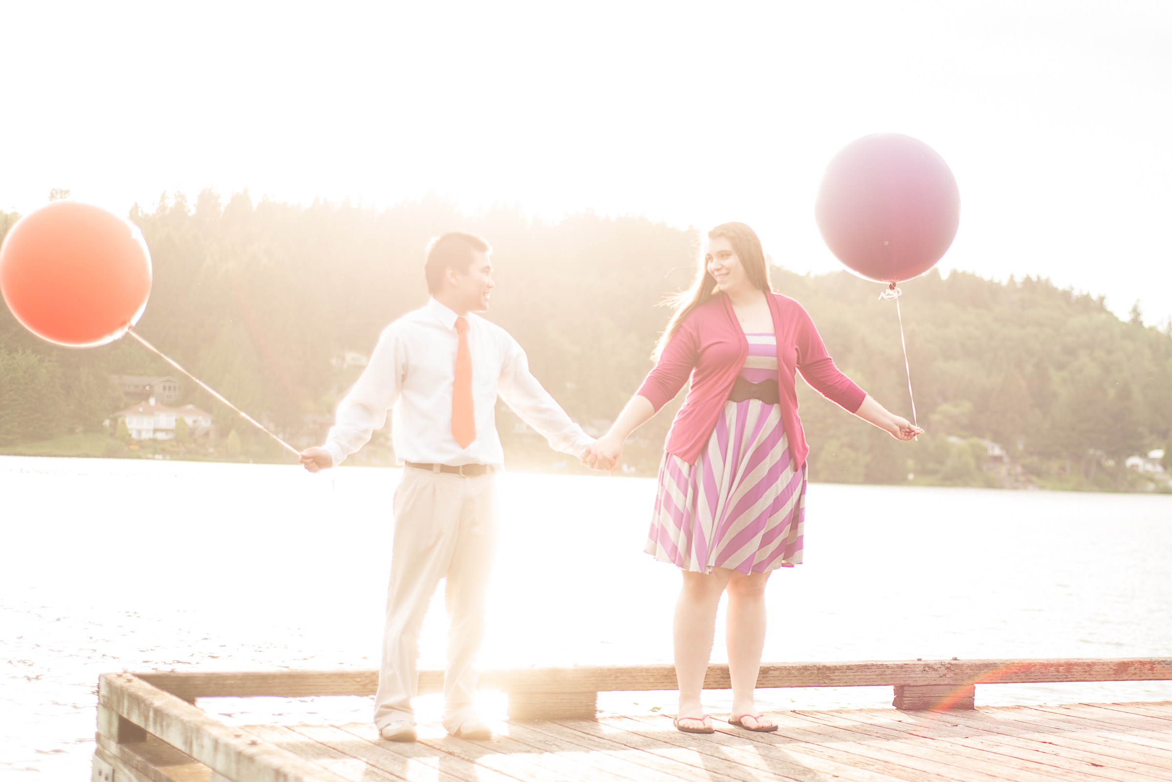 Engagement Photo flare with balloons