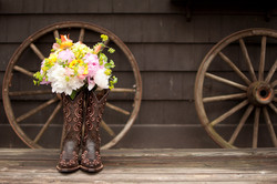 Wedding bouquet in boots
