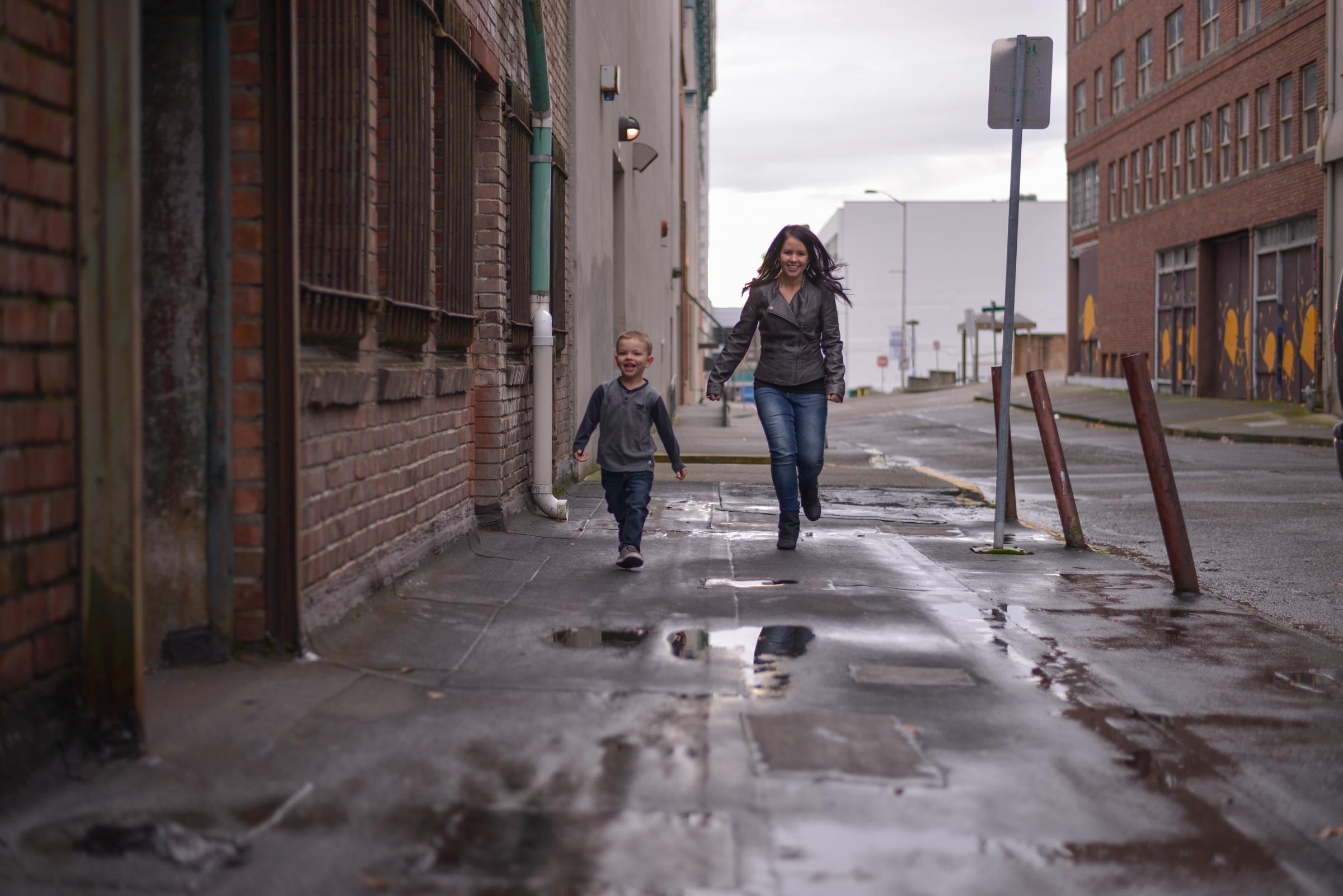 Mom & son running