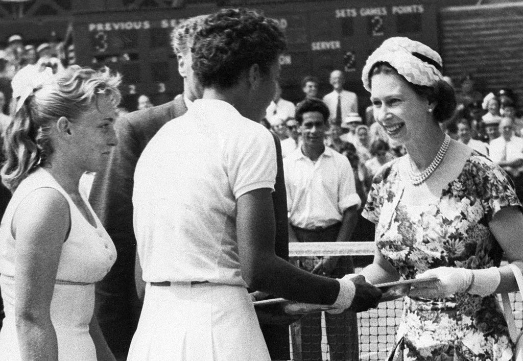 Althea Gibson meets the Queen of England at Wimbledon