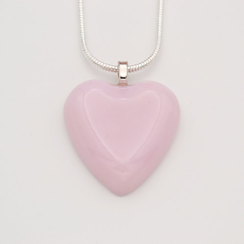 Soft Pink Solid Glass Heart Necklace