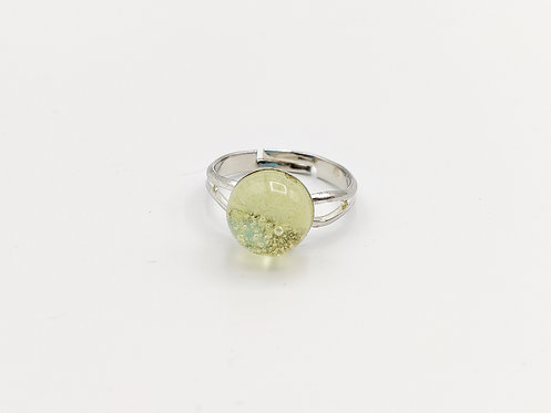 Pale Yellow Transparent Glass Adjustable Ring