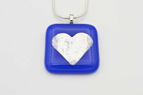 Blue Silver Leaf Heart Glass Necklace