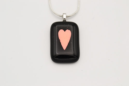 Black Dichroic Heart Glass Necklace