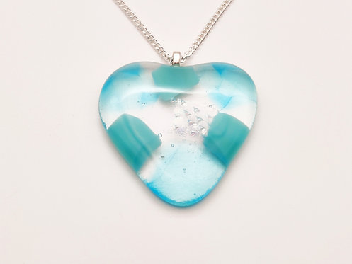 Large Turquoise Glass Heart Necklace