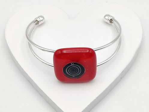 Red with Black Circle Detail Bangle Bracelet