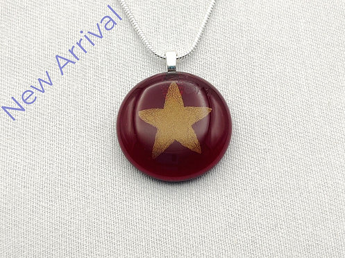 Very Deep Red Round Glass Necklace with Gold Star Detail