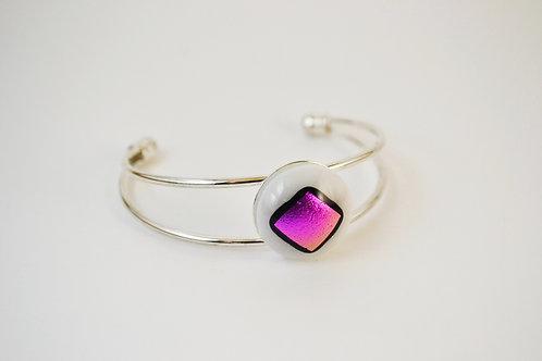 Pink on White Glass Bangle Bracelet