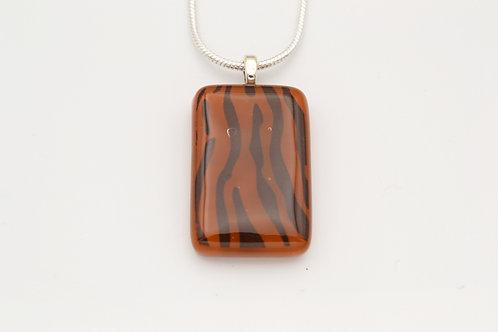 Brown Zebra Print Glass Necklace