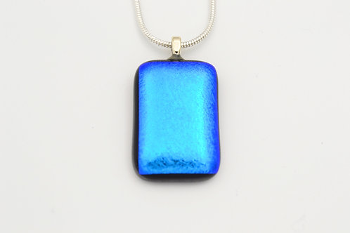 Turquoise Blue Dichroic Glass Necklace