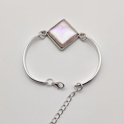 Pink Square Dichroic Glass Bracelet