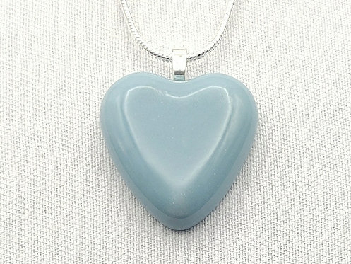 Pale Blue Solid Glass Heart Necklace