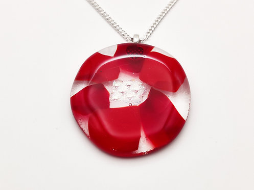 Large Red Glass Oval Necklace