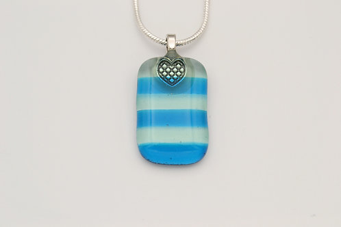 Turquoise Striped Glass Necklace